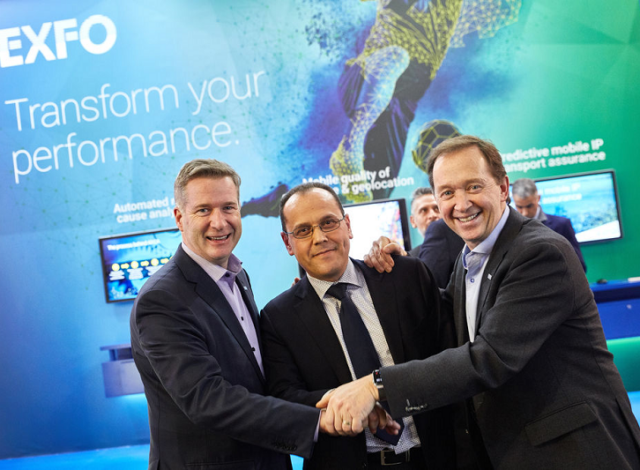 Philippe Morin - EXFO CEO, Abdelkrim Benamar - Astellia CEO, Germain Lamonde - EXFO Founder Executive Chairman. Photo credit : EXFO