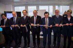 Inauguration Sanden ES. S-Ichikawa, A-Lefeuvre, J-Saito, JY-Le-Drian, M-Ushikubo, P-Massiot, N-Appéré. Crédit photo : Sanden